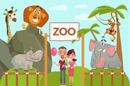 動物園での幸せな家族。ベクトル フラット漫画イラスト