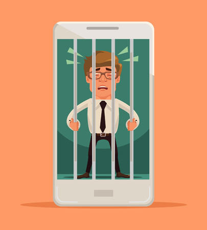 jail: Man locked in smartphone. Vector flat cartoon illustration
