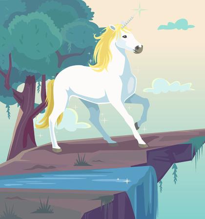 Unicornio de la fantasía de dibujos animados plana