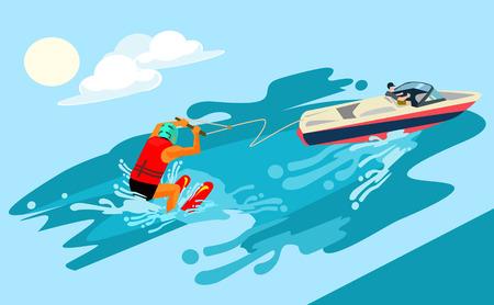 watersports: Water skiing. Vector flat cartoon illustration