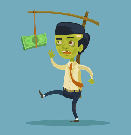try: Zombie businessman try to catch money. Vector flat cartoon illustration Illustration