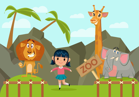 invation: Girl in zoo. Vector flat cartoon illustration