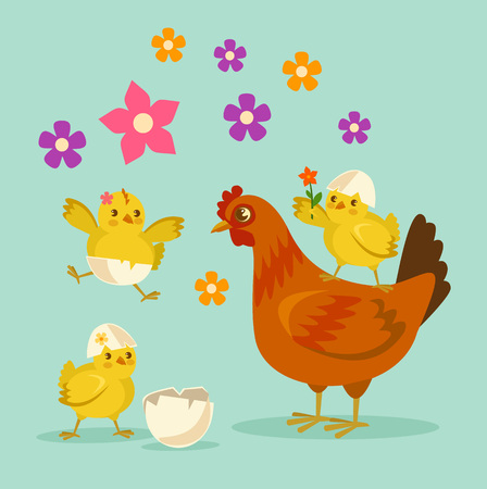cute animal cartoon: Cute cartoon chicken mother and kids. Vector flat cartoon illustration Illustration