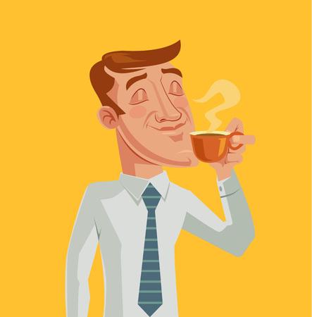 bussinesman: Morning coffee. Vector cartoon flat illustration