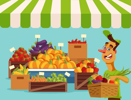 corne: Food vegetables market. Vector flat cartoon illustration
