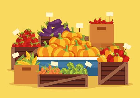 sidewalk: Street vegetables market. Vector flat cartoon illustration