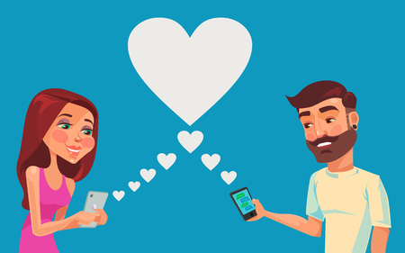 talking phone: Boy and girl talking online. Vector flat illustration