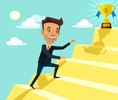 awarded: Successful man. Vector flat cartoon illustration