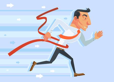 concurrence: Businessman winner. Vector flat cartoon illustration