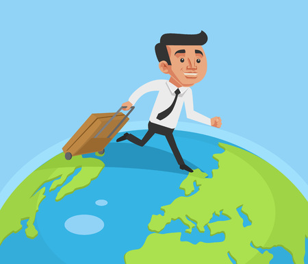 Business man run around the world. Vector flat cartoon illustration