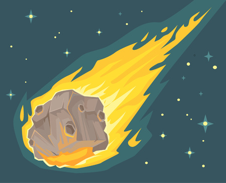encounter: Flame meteorite. Vector flat cartoon illustration Illustration