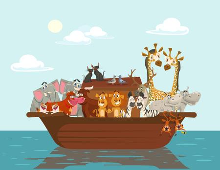 hipopotamo caricatura: arca de Noé. Vector ilustración de dibujos animados plana Vectores