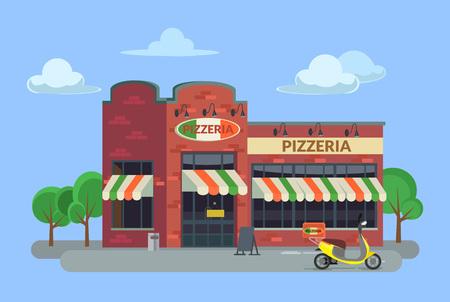 cook house: Cartoon pizzeria. Vector flat illustration