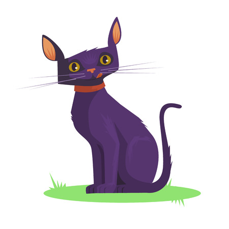 Dark cat. Vector flat cartoon illustration
