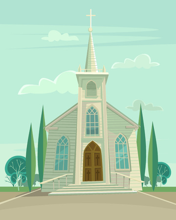 catholic wedding: Building church. Vector flat cartoon illustration