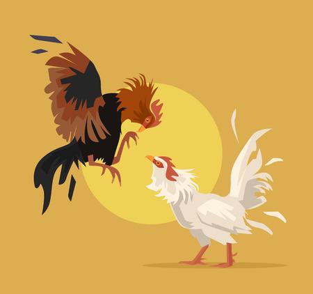 Two cocks fighting. Vector flat cartoon illustration