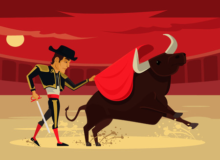 corrida: Spain corrida. Vector flat cartoon illustration