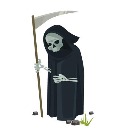 muerte: Ángel de la muerte con guadaña. Vector ilustración de dibujos animados plana