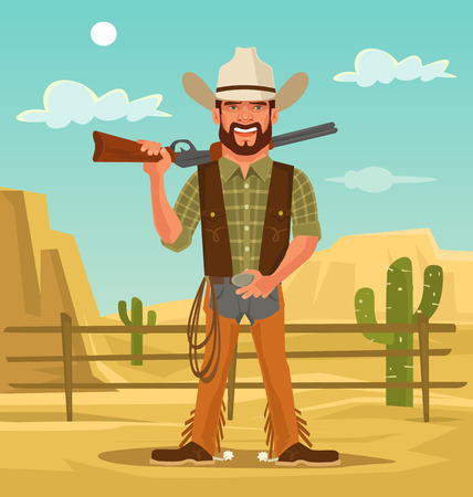 shootout: Macho handsome cowboy. Vector flat cartoon illustration