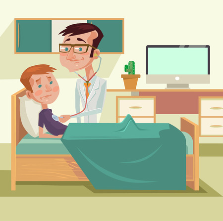 doctor and patient vector: Doctor with patient. Vector flat cartoon illustration