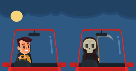 fear cartoon: Driver with death. Vector flat cartoon illustration