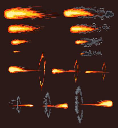 Vector comet effect. Flat set illustration