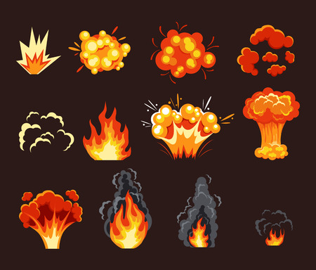 bombe atomique: Explosion effet d'animation. Vector cartoon plat illustration set