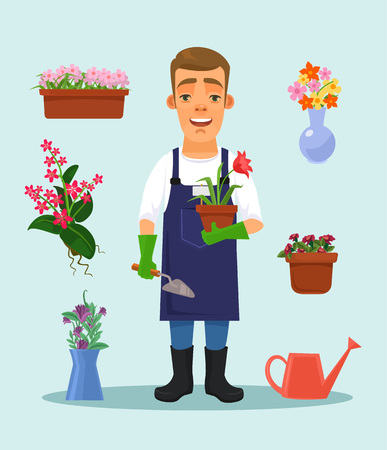 coverall: Gardener with garden tools and flowers. Vector flat cartoon illustration