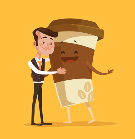 Coffee break. Pure morning. Vector flat cartoon illustration Illustration