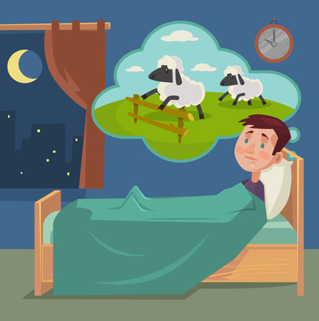 Sleepless man counting sheep. Vector flat cartoon illustration Illustration