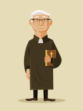 predicador: Sacerdote catolico. Vector ilustración de dibujos animados plana