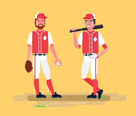 outfield: Baseball players. Vector flat cartoon illustration Illustration