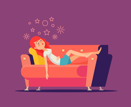weary: Sleeping girl on sofa. Vector flat cartoon illustration