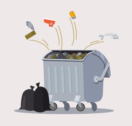 separacion de basura: Bote de basura. Vector ilustración de dibujos animados plana