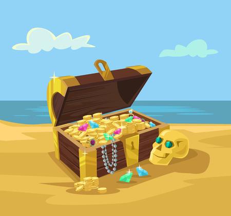 treasure trove: Treasure chest full of gold coins. Vector flat cartoon illustration Illustration