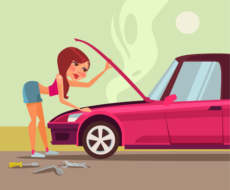 repairing: Woman repairing car. Vector flat cartoon illustration