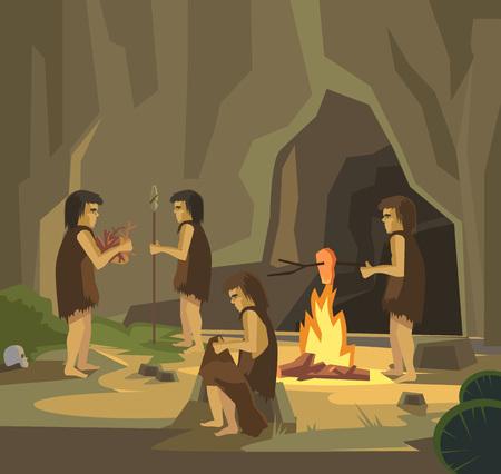 sociedade: Caverna pessoas. Vetor plana Ilustração