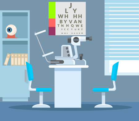 ophthalmologist: Ophthalmologist office. Vector flat illustration