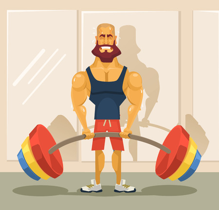 Bodybuilder doing exercise. Vector flat cartoon illustration