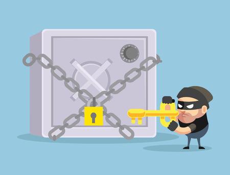 hacking: Hacking bank safe. Vector flat cartoon illustratio