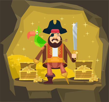 conqueror: Pirate with gold. Vector flat cartoon illustration