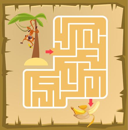 childrens food: Labyrinth game for children with monkey. Vector cartoon illustration Illustration