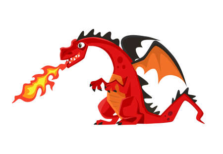 growl: Growl fire dragon. Vector flat cartoon illustration