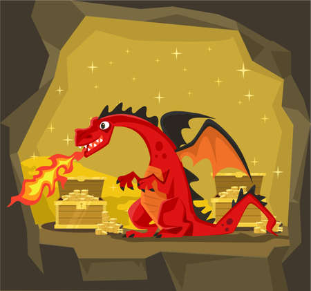 gems: Dragon with gold. Vector flat cartoon illustration Illustration