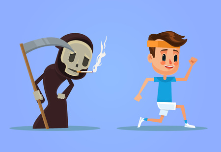try: Healthy man run away from smoking death. Vector flat cartoon illustration
