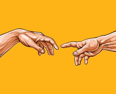 michelangelo: Adam hands. Vector illustration