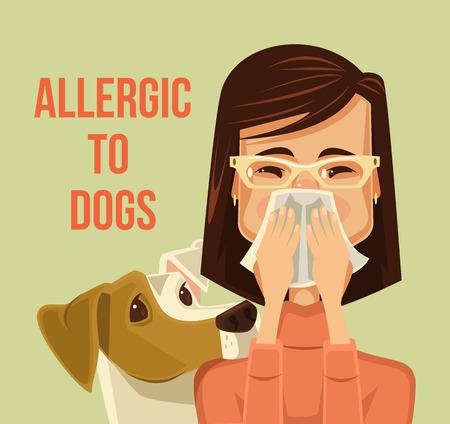 Alérgico a los perros. Vector ilustración de dibujos animados plana