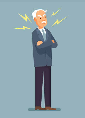 senior business: Angry boss. Angry grandfather. Disappointed boss. Furious grandfather. Furious boss. Vector flat illustration Illustration
