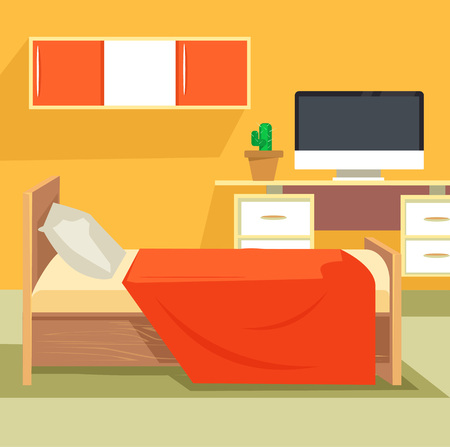 Bedroom interior. Bedroom design. Bedroom furniture. Orange bedroom. Teenager bedroom. Vector flat cartoon illustration Ilustrace