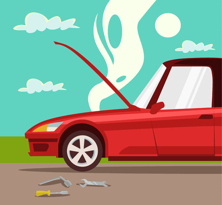 overheated: Broken car. Accident with car. Overheated engine. Red car. Crash and accident with car. Vector flat cartoon illustration
